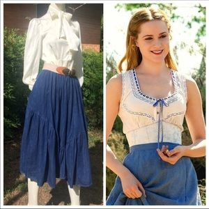 Vintage Western Denim Dolores Maxi Skirt Full